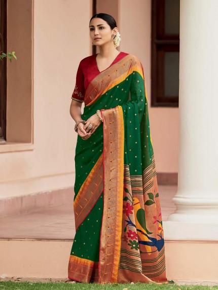 Green Colored Weaving Brasso Silk Saree - gnp0108801
