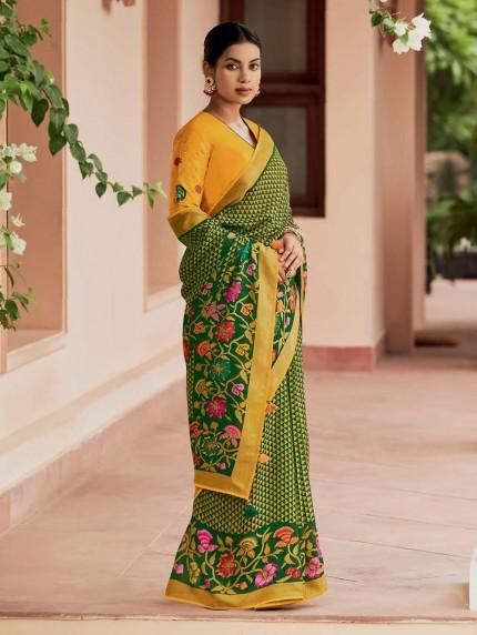Green Colored Weaving Brasso Silk Saree - gnp0108802