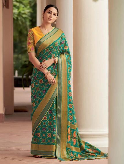 Green Colored Weaving Brasso Silk Saree - gnp0108803