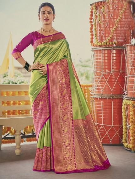 Green Colored Weaving Silk Sarees - gnp0108903