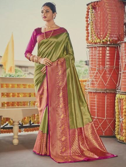 Green Colored Weaving Silk Sarees - gnp0108904