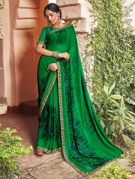 Green Georgette With Pogo Work and Fancy Blouse - gnp009437