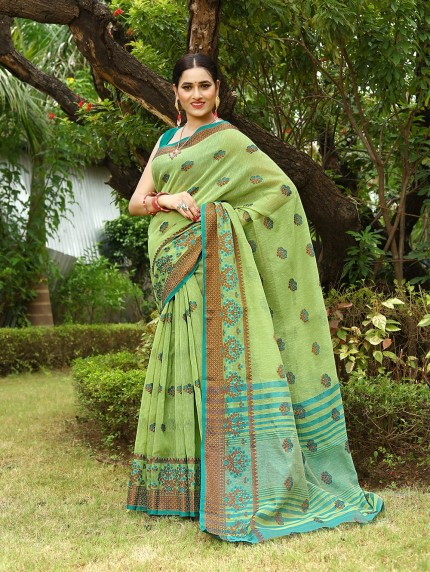Grab and Pack linen sarees with embroidery work