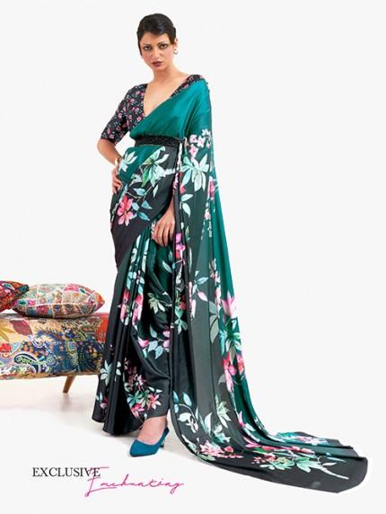 Green Japanese Silk Digital Printed Saree With Blouse - gnp0108671