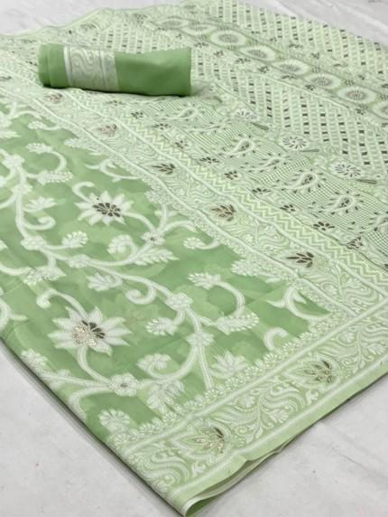 GrabandPack Green Lucknowi Chikankari work saree