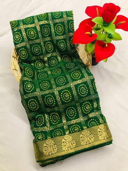 Green Marbal Chiffon Print and Foil Print With Less Patti - gnp0108662