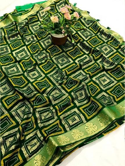 Green marbal chiffon printed Fancy saree
