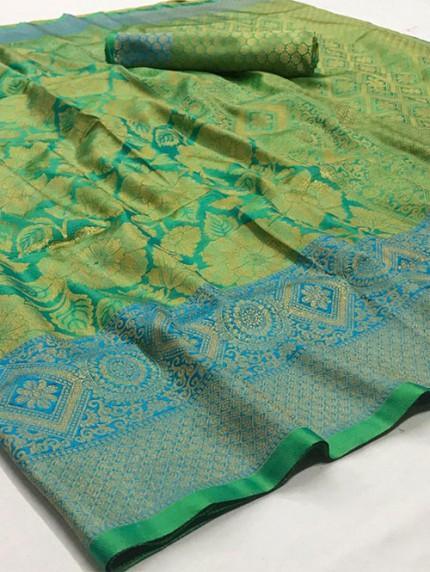 Green Nylon Dying Silk Saree - gnp008289