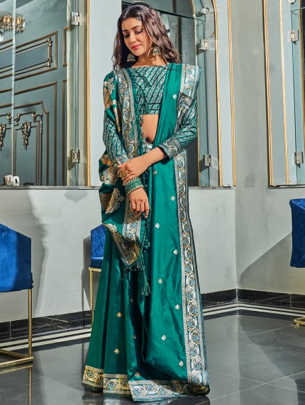 Green Pure Silk Fabric With Dual Shade Weaving Saree - gnp0108897