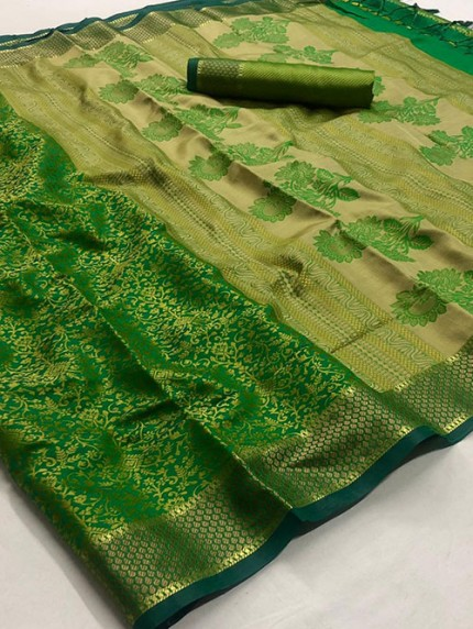 Green Self Satin Handloom Weaving Silk Saree - gnp008384