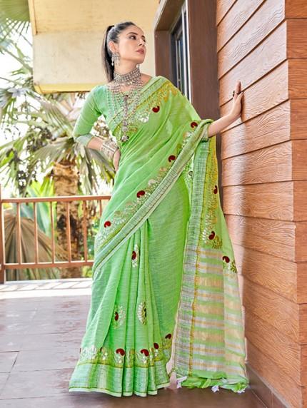 Green Soft Linen Saree with Beautiful Gotapatti Border - gnp0108656