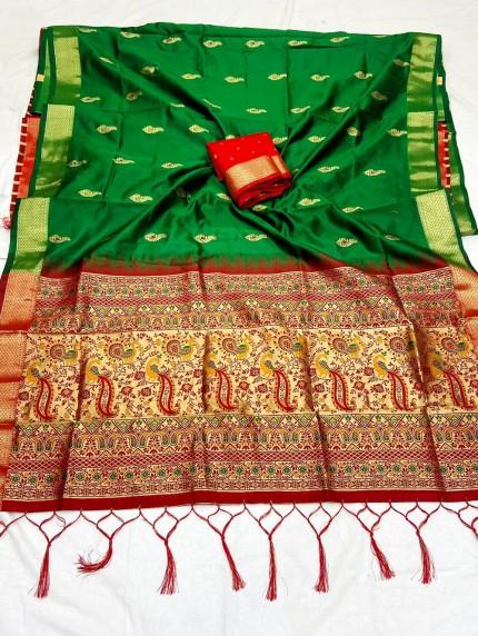Green Soft Silk Saree with Beautiful Reach Pallu and Jacquard Weaving - gnp0108836