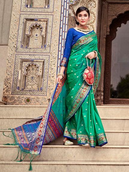 Green Soft Silk Weaving with Beautiful Designer Border & Pallu Saree - gnp0108749