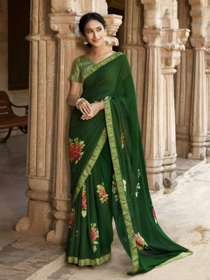 Green Weightless Printed Saree With Fancy Mask - gnp009211