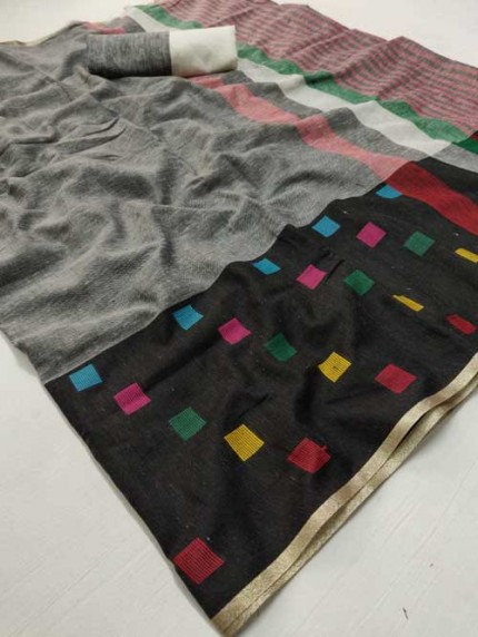 Grey Colored Beautiful Woven Linen Saree - Sneha