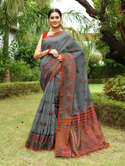 grab & pack elegant fashion wear linen sarees