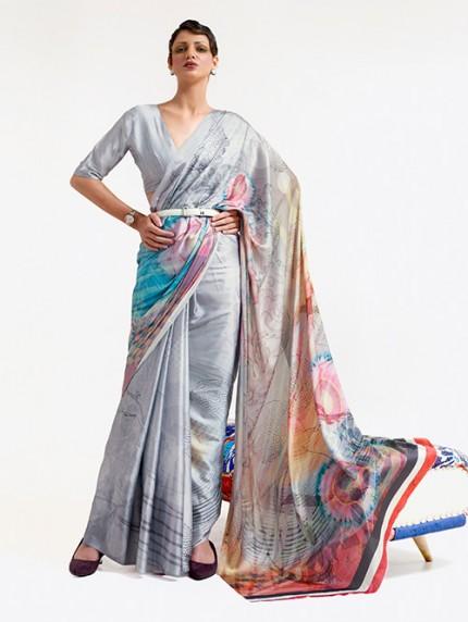 Grey Japanese Silk Digital Printed Saree With Blouse - gnp0108673