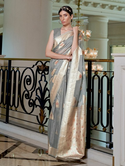 Grey Pure Modal Handloom Weaving Work Saree - gnp0108670