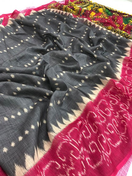 Ikkat With Kalmkari Digital Print Linen Saree - gnp008359