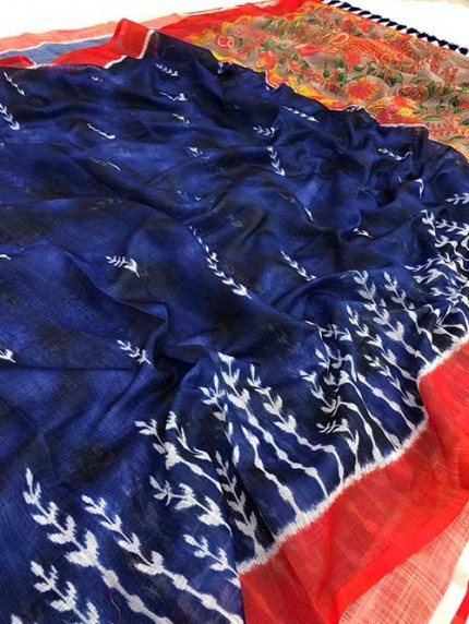Ikkat With Kalmkari Digital Print Linen Saree - gnp008360