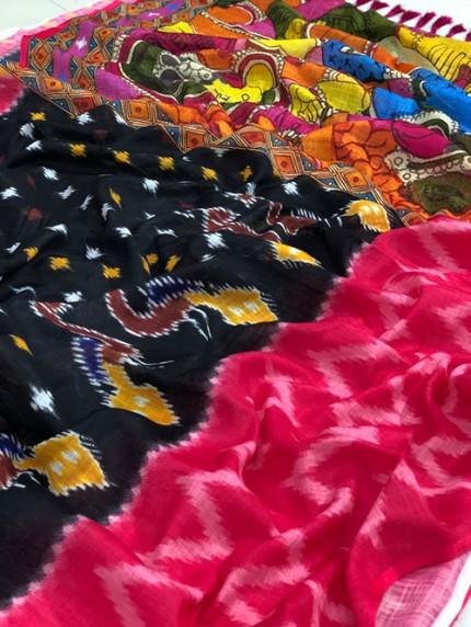 Ikkat With Kalmkari Digital Print Linen Saree - gnp008428