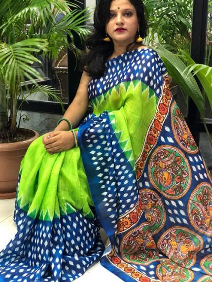 Ikkat With Kalmkari Digital Print Linen Saree - gnp008429