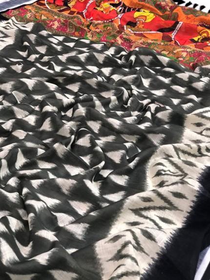 Ikkat With Kalmkari Digital Print Linen Saree - gnp008435