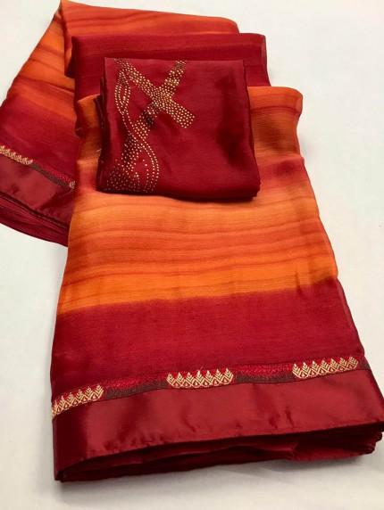 impressive Beautiful Chiffon Party wear saree