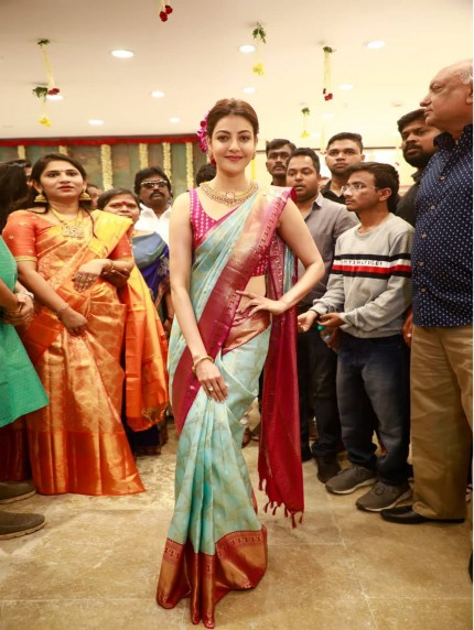 Kajal Aggarwal Style Weaving Silk Saree - grabandpack
