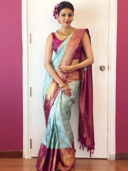 Kajal Aggarwal Style Weaving Silk Saree in Sky Blue - grabandpack