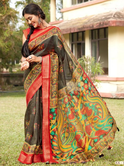 Kalamkari Printed Soft Cotton With Weaving Border - gnp008153