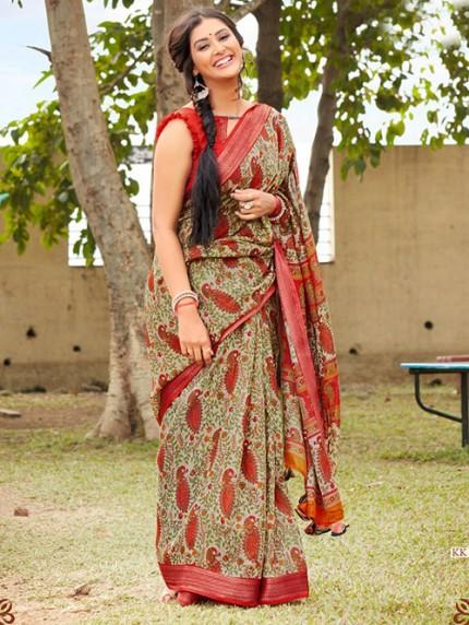 Kalamkari Printed Soft Cotton With Weaving Border - gnp008154