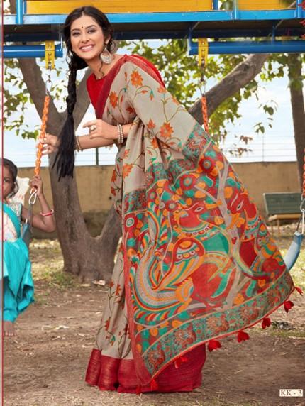Kalamkari Printed Soft Cotton With Weaving Border - gnp008155