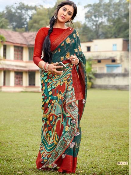 Kalamkari Printed Soft Cotton With Weaving Border - gnp008157