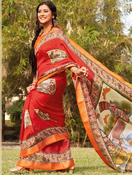Kalamkari Printed Soft Cotton With Weaving Border - gnp008158