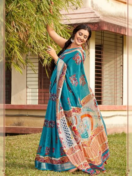 Kalamkari Printed Soft Cotton With Weaving Border - gnp008160