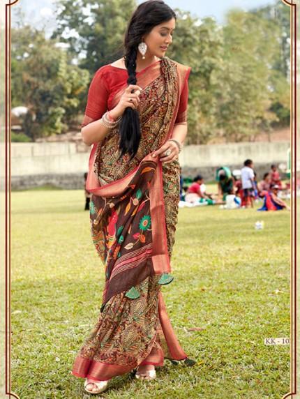 Kalamkari Printed Soft Cotton With Weaving Border - gnp008162