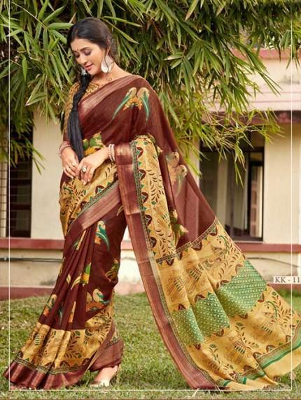 Kalamkari Printed Soft Cotton With Weaving Border - gnp008163