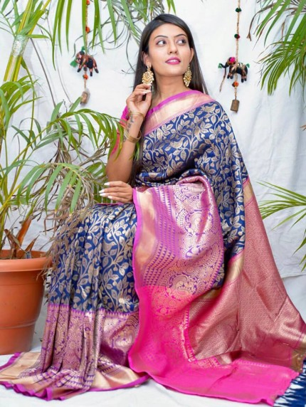 kanchipuram Silk Blue Colour Saree