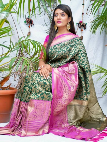 kanchipuram Silk Green Colour Saree