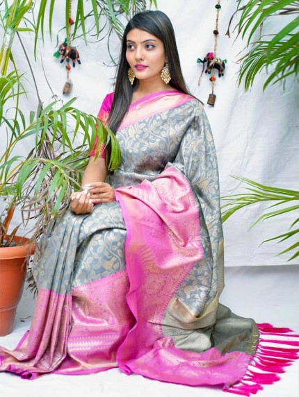 kanchipuram Silk Grey Colour Saree