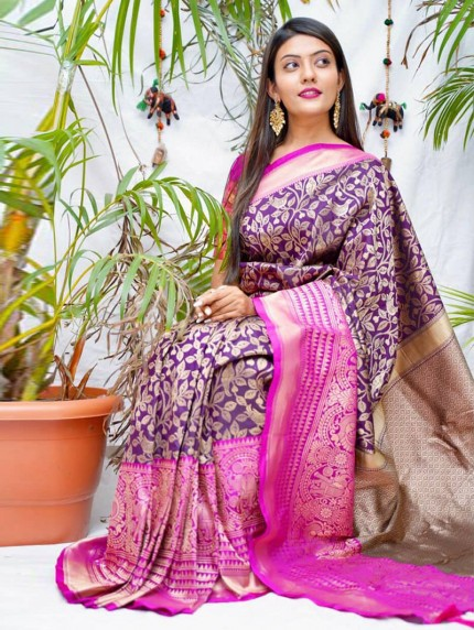 kanchipuram Silk Purple Colour Saree