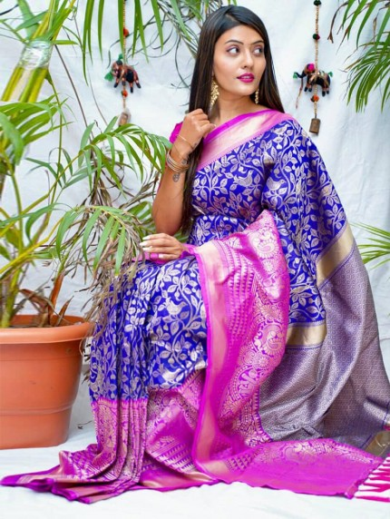 kanchipuram Silk Violet Colour Saree
