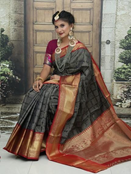 Kanchipuram Silk Woven Saree in black