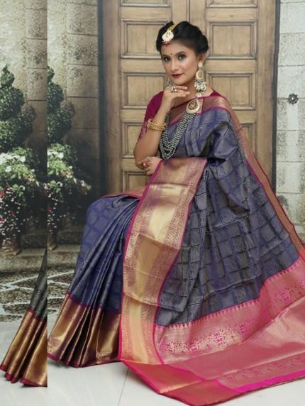 Blue Kanchipuram Silk Woven Saree