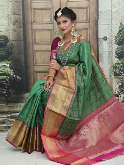 Kanchipuram Silk Woven Saree in Green gnp0107970