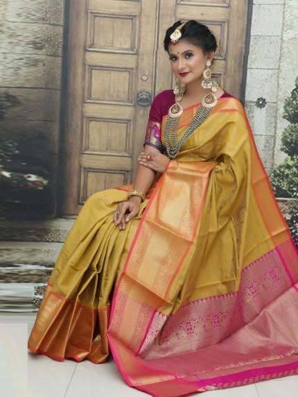 Kanchipuram Silk Woven Saree in mustard