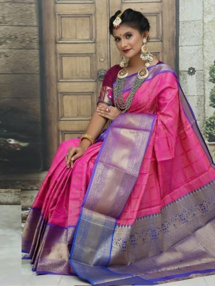 Kanchipuram Silk Woven Saree in pink