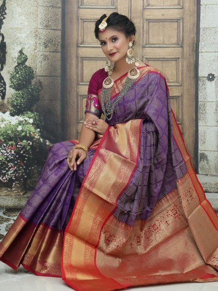 Kanchipuram Silk Woven Saree in purple