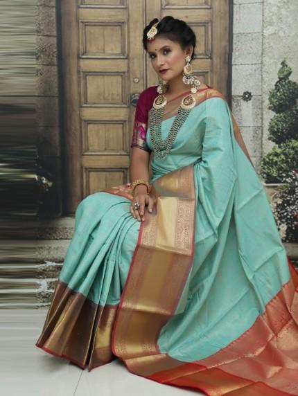 Sky Blue Kanchipuram Silk Woven Saree